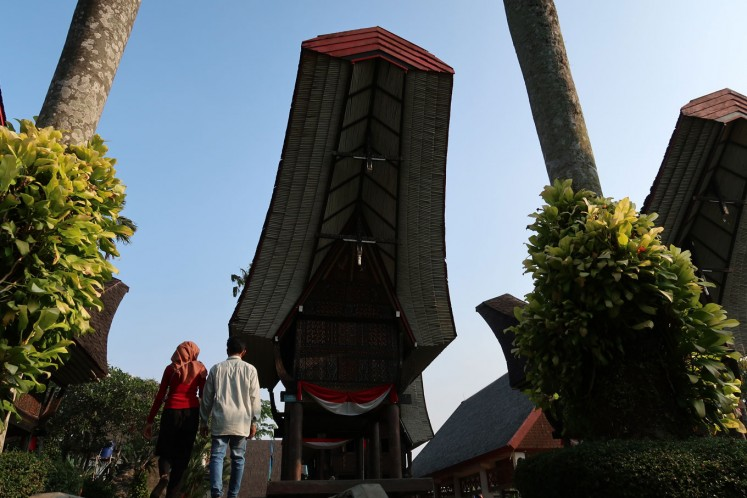 A Toraja traditional house from South Sulawesi is one of the architectural heritage items on display at the park.