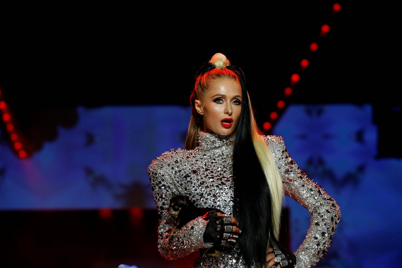 Paris Hilton presents a creation from The Blonds Spring/Summer 2019 collection during New York Fashion Week in the Manhattan borough of New York City, U.S., September 7