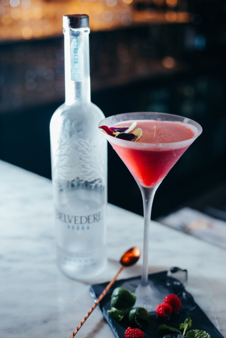 The Back Room's Debesmama Cocktail. Created by their head mixologist, Dodo Marinoputra, it consists of vodka and raspberry puree.