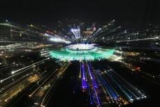 Lights shower Bung Karno Stadium during the 2018 Asian Games opening ceremony. JP/Seto Wardhana