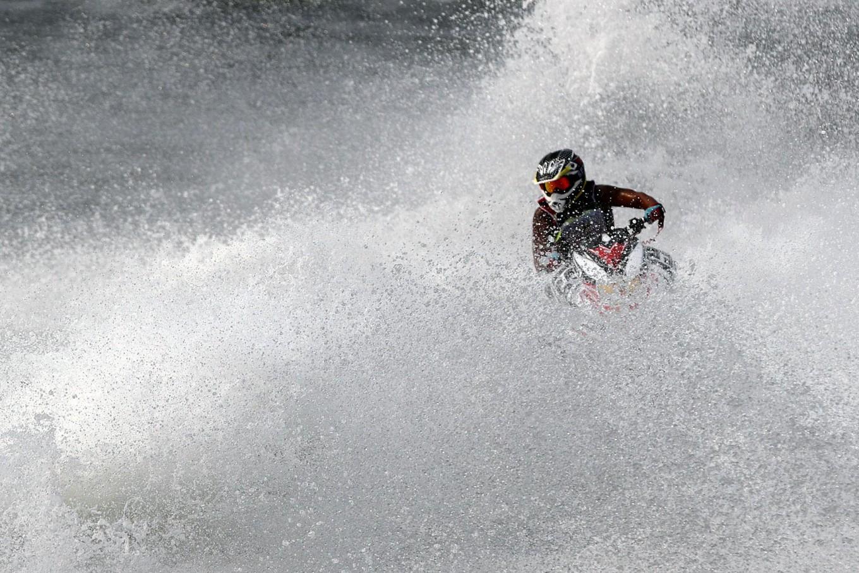 Indonesian Aero Azwar races during the jet ski runabout limited moto 2 final. JP/Seto Wardhana