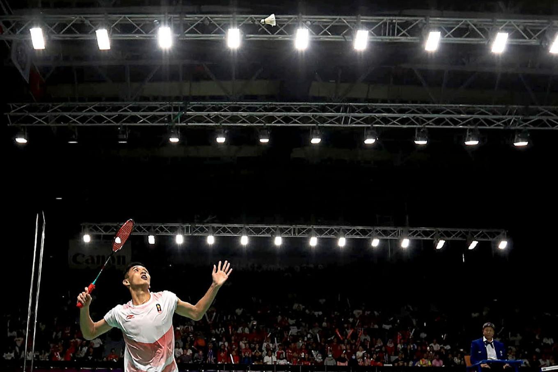 Indonesia's Jonatan Christie performs in the badminton men's single final against Chinese Taipei's Chou Tien Chen. He won the gold. JP/Seto Wardhana
