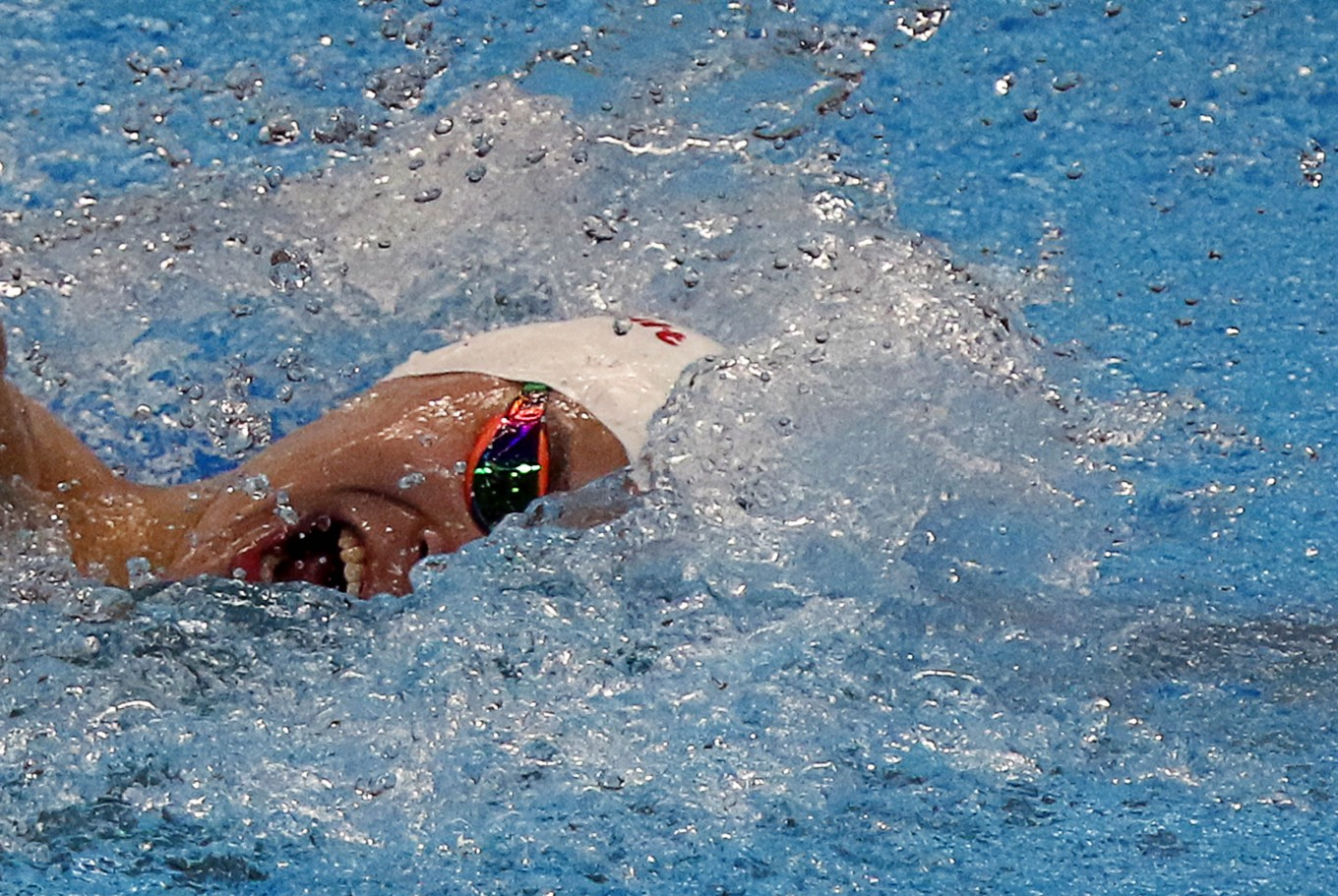 China's Sun Yang swims in men's 800-meter freestyle. He won the gold after finishing in 7:48.36, breaking the Asian Games record. JP/Seto Wardhana
