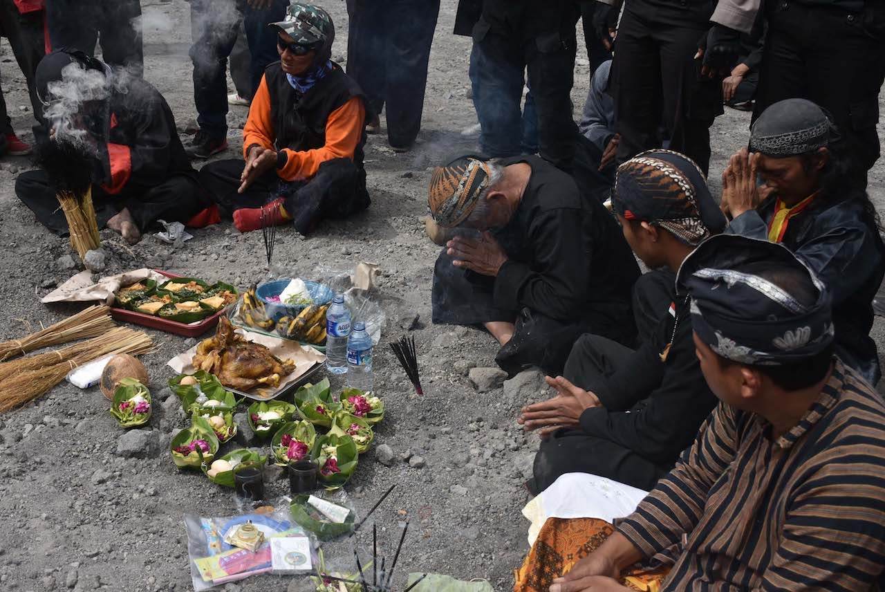 Offerings are prepared as symbol of gratitude and effort to ward off bad luck around Mount Kelud