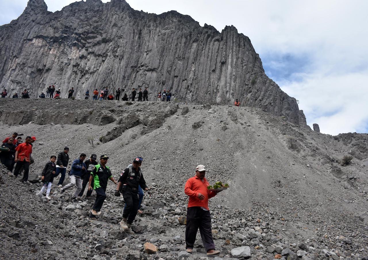 Larung sesaji procession at the slopes of Mount Kelud