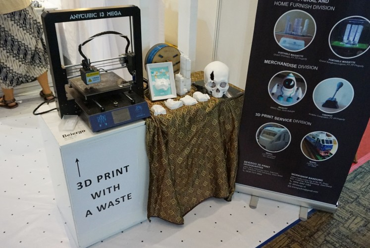 Robries, one of the many tenants displaying their innovations at the Bekraf Habibie Festival, provides 3D-printing services from recycled plastic.