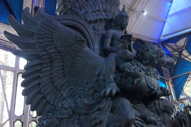 A miniature display of the Garuda Wisnu Kencana by Nyoman Nuarta at the NuArt Sculpture Park in Bandung.