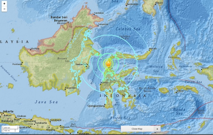 A screen capture of a map from US Geological Survey website of the location of earthquake in Donggala, Central Sulawesi on Sept. 28, 2018 at 5:02 p.m. Jakarta time.
