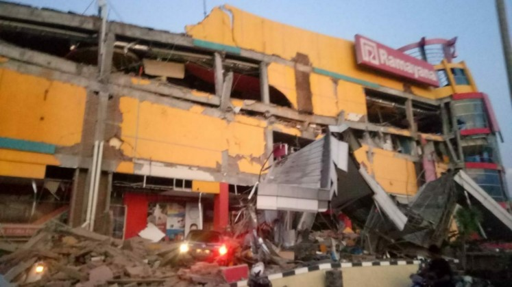 The Ramayana department store in Palu Central Sulawesi is severely damaged after a 7.7-magnitude earthquake struck on Friday afternoon