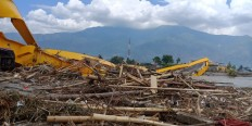 A collapsed bridge is pictured in Palu, Central Sulawesi, on Oct.1, 2018.  JP/ Ruslan Sangaji