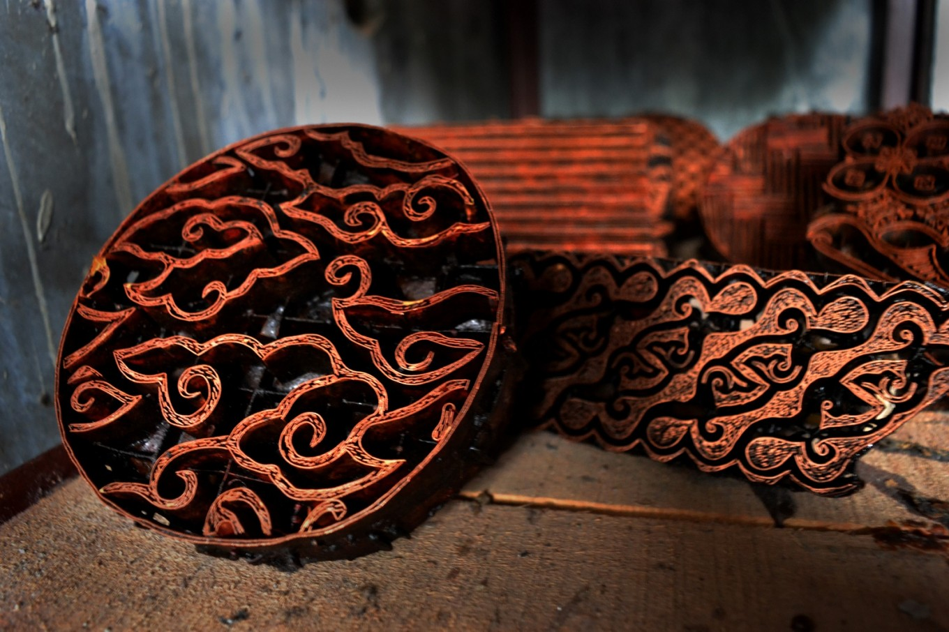 Copper carved using a batik motif.
