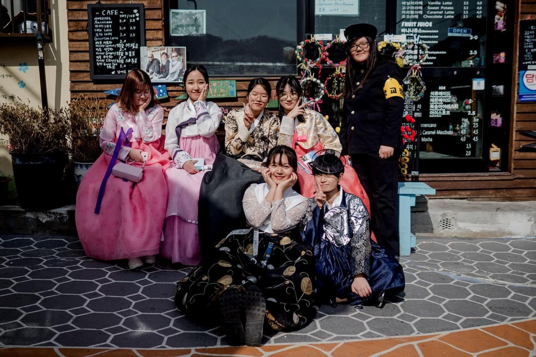 South Korean students dressed in hanbok spend time in Gamcheon. JP/Anggara Mahendra