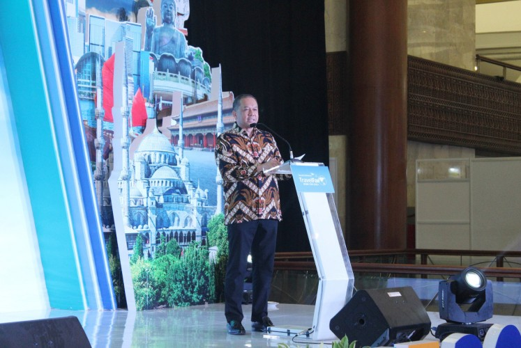 Pikri Ilham Kurniansyah, Garuda Indonesia's commercial director, speaks at the opening ceremony of the second phase of the Garuda Indonesia Travel Fair (GATF) 2018 at the Jakarta Convention Center (JCC) in Senayan, South Jakarta, on Friday.