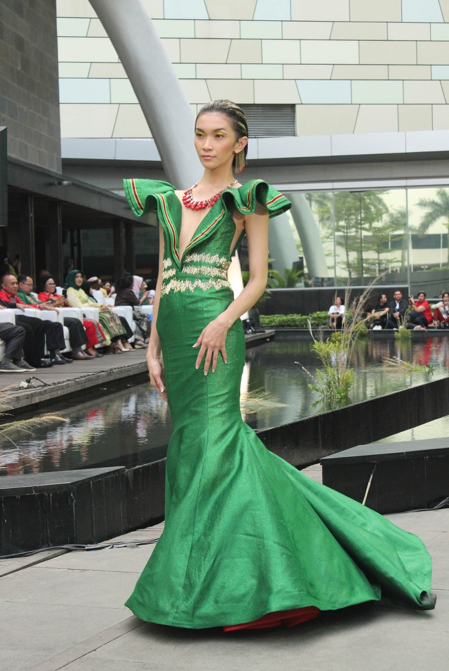 One of the dresses showcased at the Serenade of Tenun Doyo fashion show.