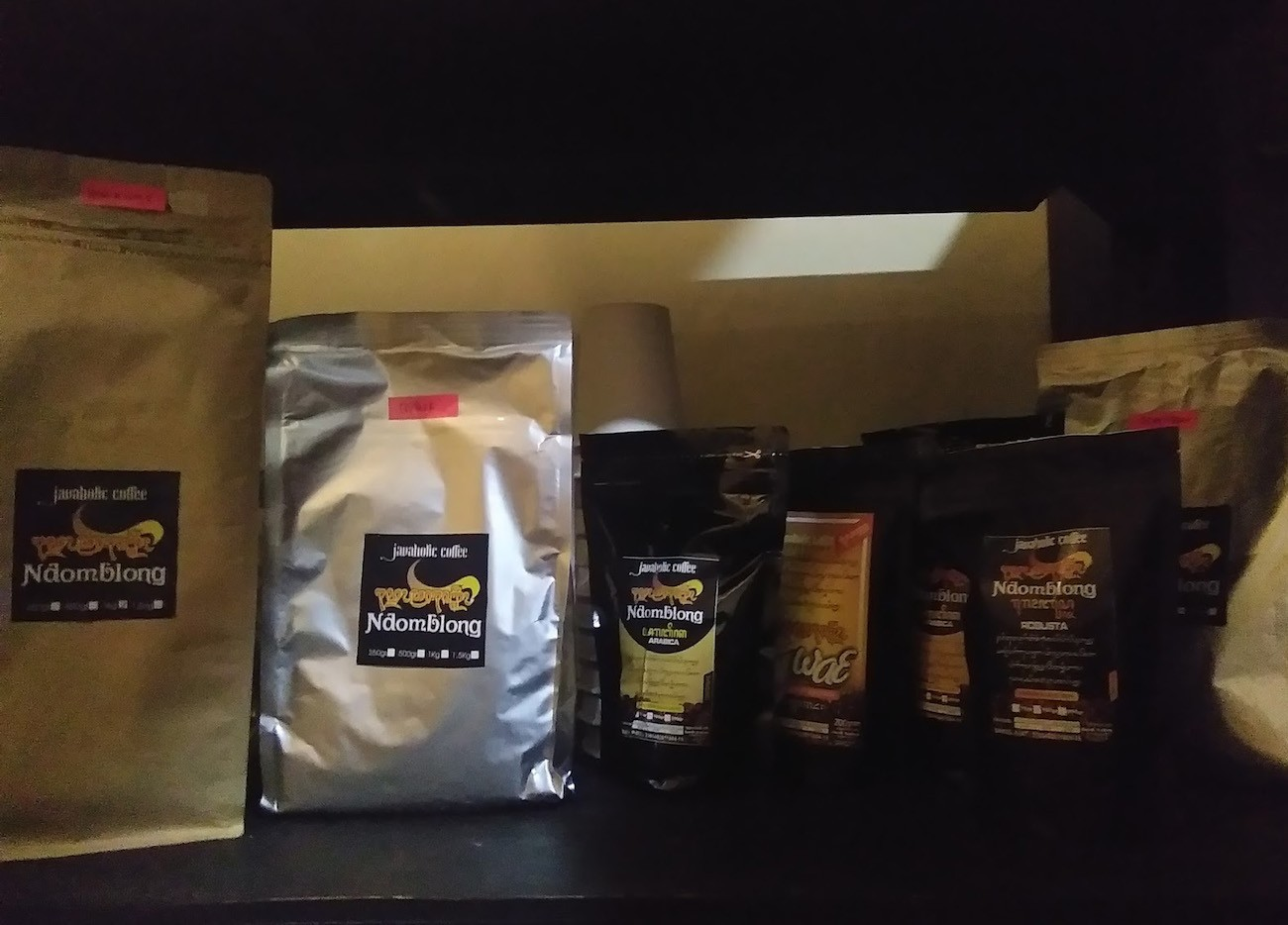 Some of Wonogiri's coffee products are on display.
