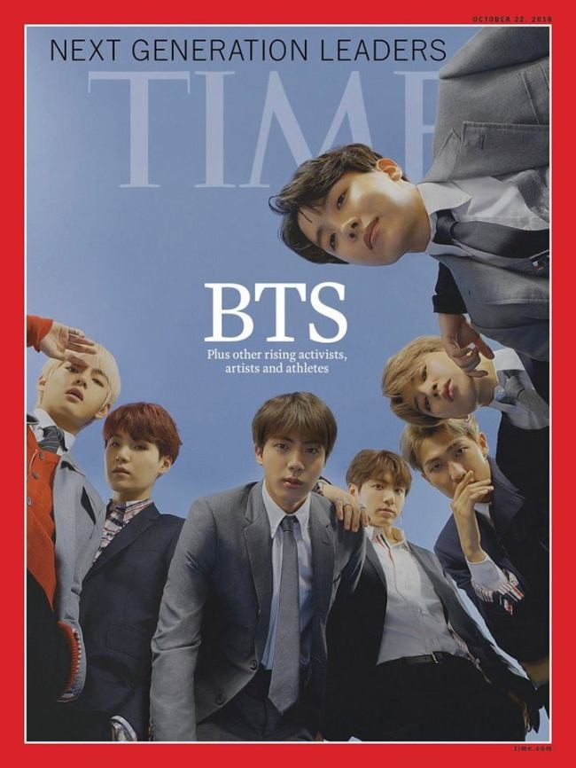 BTS on the cover of Time magazine in the Next Generation Leaders issue.