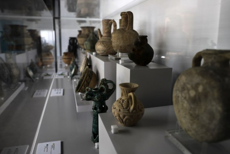 Artifacts are seen on display at Nabu Museum, in Lebanon's el-Heri village, north of Beirut, on September 27, 2018.
