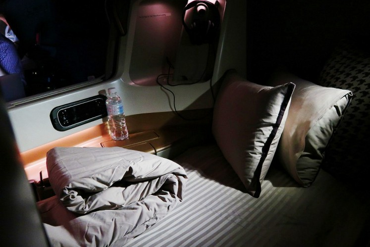 Business Class seats can be turned into beds.