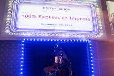 Musician Adoy enters the venue for the Express to Impress performance in @america. JP/Rosa Panggabean