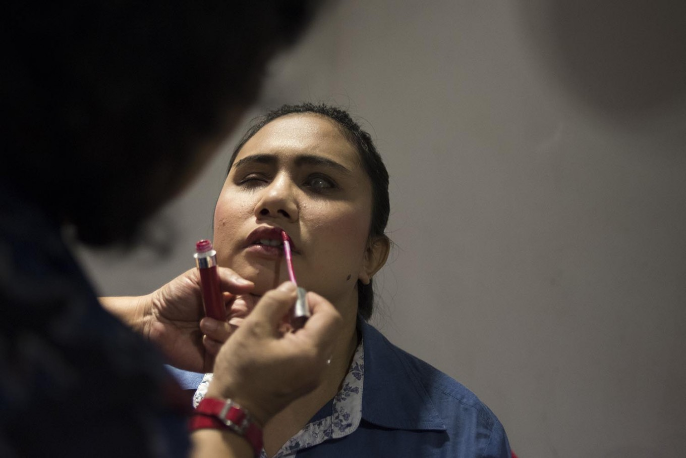 A member of the Pelita Monas Foundation gets ready to perform during Express to Impress in @america. JP/Rosa Panggabean