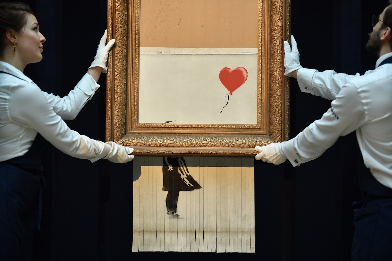 Partially shredded Banksy canvas to go on view in Germany