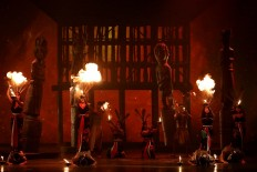 The show features fire effects. JP/Wienda Parwitasari