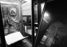 A visitor looks at a manuscript being displayed at an exhibition in Surakarta, Central Java. JP/Ganug Nugroho Adi