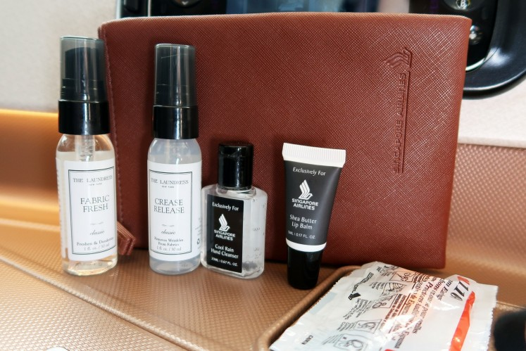 The amenities kit offered on Singapore Airlines' New York-Singapore route.