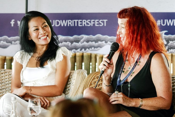 Storytellers: Indonesian author Dewi Lestari (left) shares the stage with Australian writer Isobelle Carmody during one of the festival's sessions.