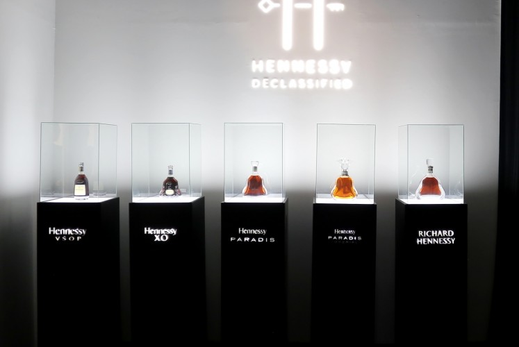 Five Hennessy cognacs that are displayed at Hennessy Declassified exhibition on Tuesday, October 20, 2018 at Pacific Place Mall, South Jakarta.