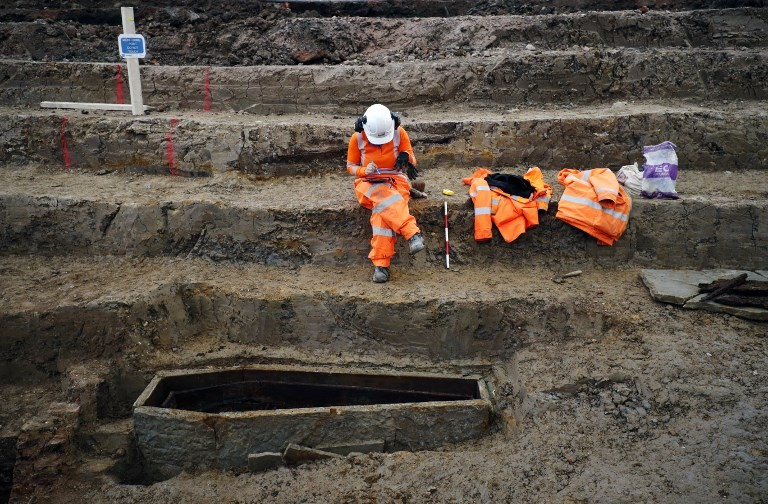 Skeletons unearthed in giant UK train line excavation