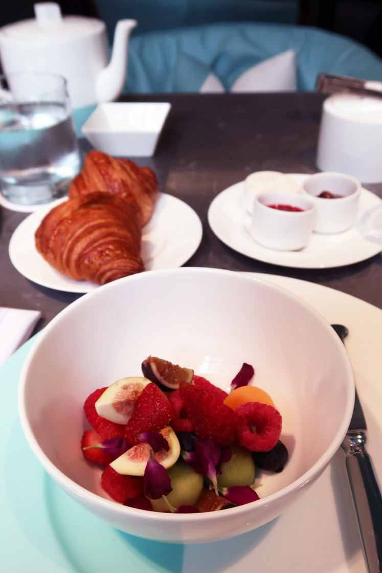 Breakfast set at The Blue Box Cafe. Priced at US$32, the set comes with complimentary fresh fruit, a croissant and choice of tea or coffee.