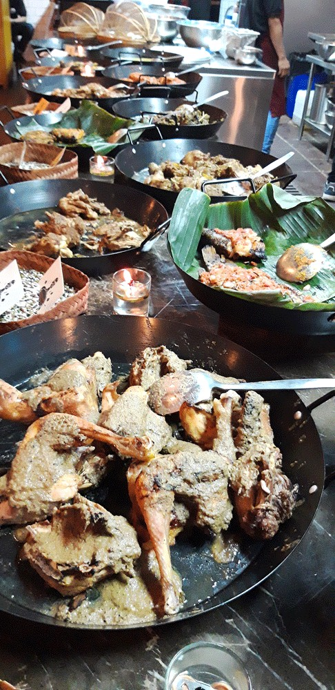 Glorious alternatives: Food is displayed at Bonga Bonga restaurant in Cilandak, South Jakarta. The restaurant prides its self on being a halal 'lapo' (Batak eatery), in contrast with traditional 'lapo', which offer dishes made with pork or dog meat.