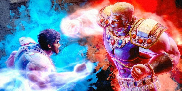 Stunned: Kenshiro (left) starts throwing out his characteristic blitzkrieg of punches in a battle.