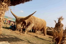 Ready to attack: The Straw Festival includes an enormous bovine  sculpture, which refers to fossils discovered in the village.  JP/Maksum Nur Fauzan