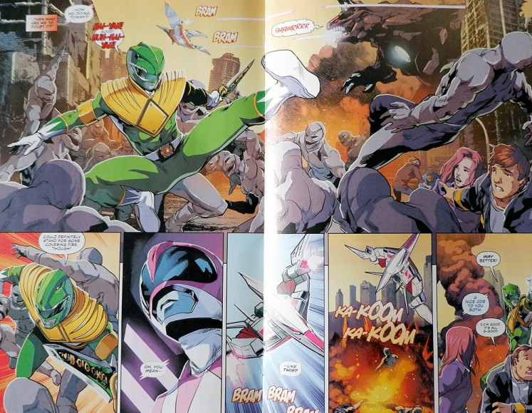 In color: Hendry's illustration on BOOM! Studios's Mighty Morphin Power Rangers comic book.