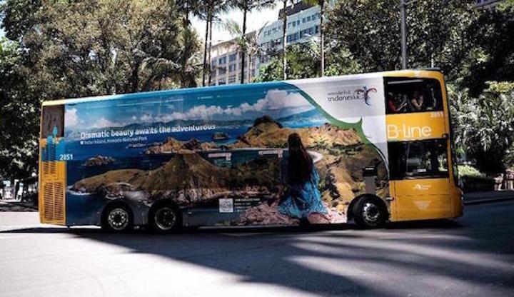Bus dua tingkat di Sydney dengan logo Wonderful Indonesia   Sumber: Kementerian Pariwisata