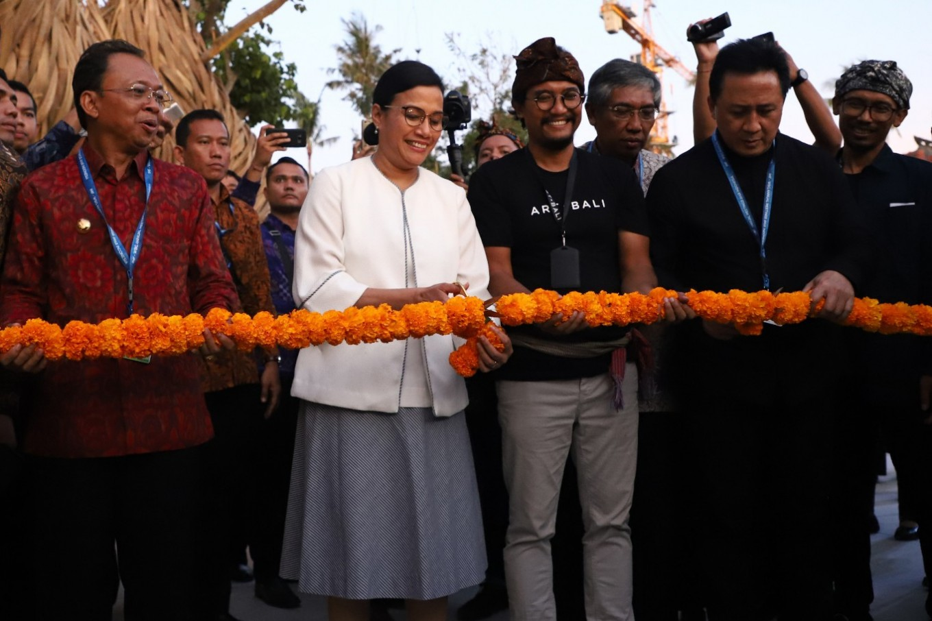Finance Minister Sri Mulyani, Art Bali founder Heri Pemad and Bekraf head Triawan Munaf at the official opening of Art Bali.