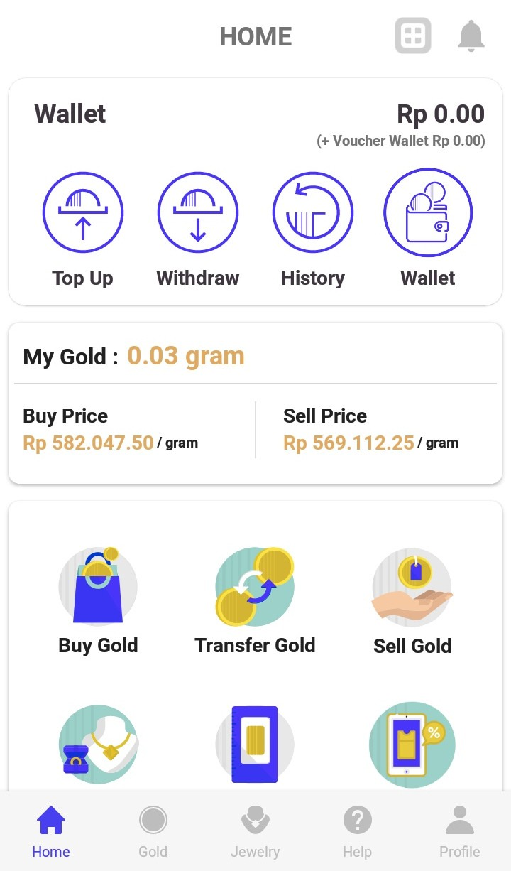 Homepage of Treasury app.