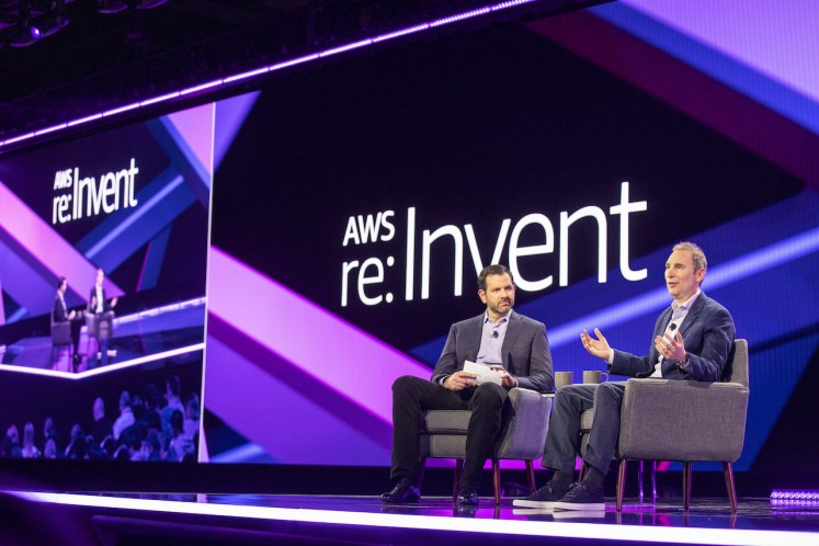 Amazon Web Services (AWS) leader Terry Wise (left) engages in a fireside chat with AWS CEO Andy Jassy (right) during an event to kick off the AWS re:invent conference in Las Vegas, United States on Nov. 27, 2018.