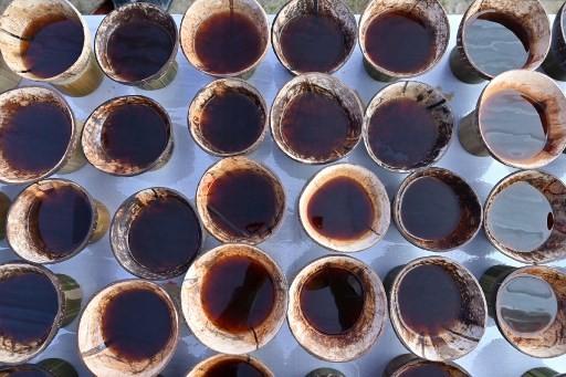 Foto ini diambil pada tanggal 28 November 2018 menunjukkan cangkir kopi Kawa Daun disajikan dalam batok kelapa selama festival seni dan budaya Minangkabau di Batusangkar, Sumatera Barat. Daerah ini adalah rumah bagi pengambilan yang aneh pada minuman yang mengekstrak rasa dari daun tanaman daripada kacangnya. Ini adalah minuman kuno yang berasal dari masa kolonial ketika sedikit penduduk setempat yang mampu membeli kopi yang diekstrak.