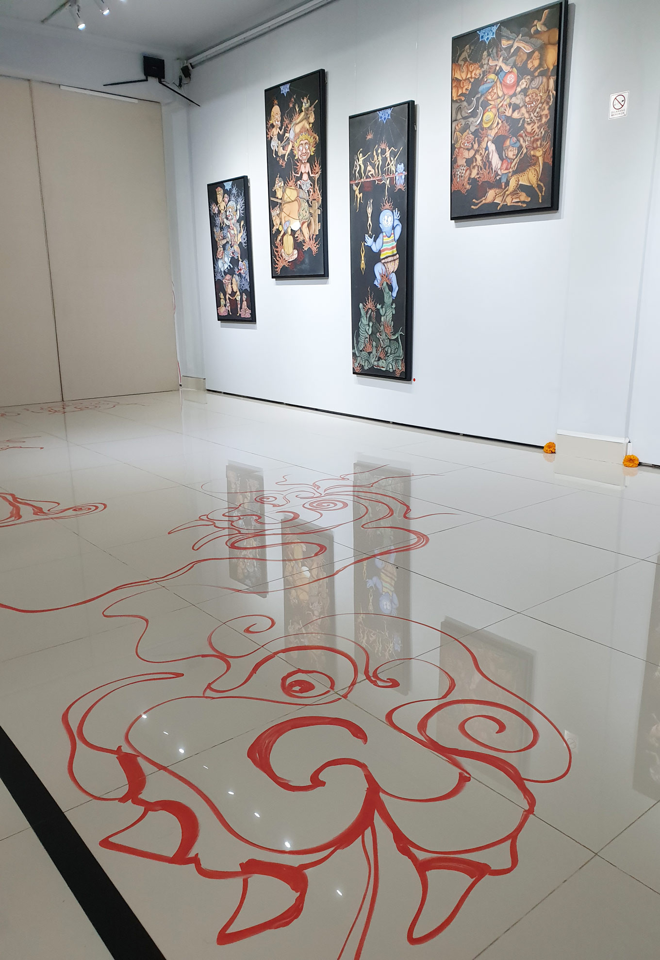 "Partial view of the ""Hell Sign"" installation by Made Sujendra"
