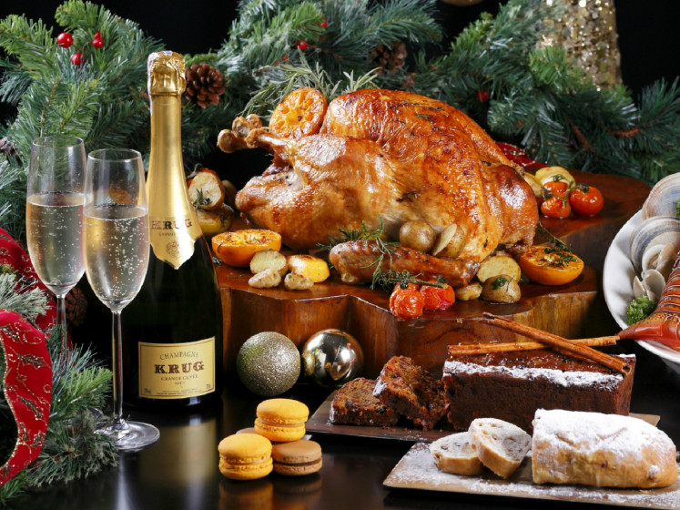 Roasted turkey is part of the Christmas feast at Mandarin Oriental Jakarta