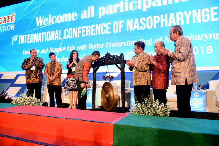 North Sumatra Deputy Governor Musa Rajekshah officiates the opening of 'The 1st International  Conference of Nasopharyngeal Carcinoma' in Medan, North Sumatra, on Dec. 6, 2018.