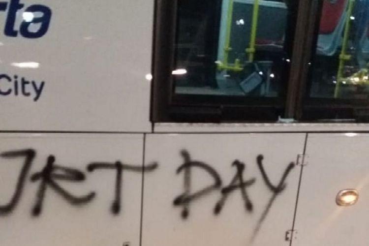 Transjakarta bus vandalized after soccer match
