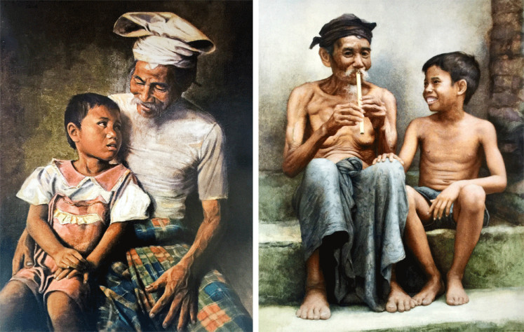 Style symmetry: A painting by Dullah (left) and another by Kok Poo, his follower.
