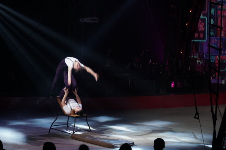 The show focuses on acrobatic performances accompanied by live music. (The Jakarta Post/Donny Fernando)