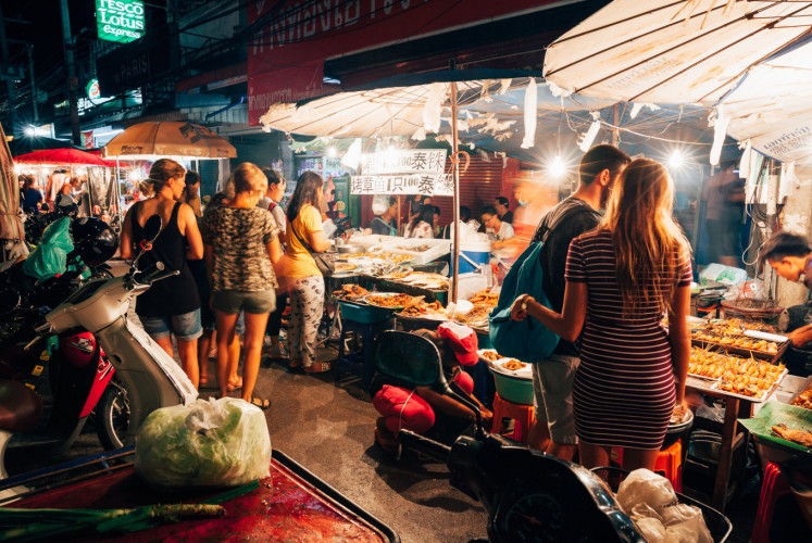 Tourists at Saturday Night Market on August 27, 2016 in Chiang Mai, Thailand