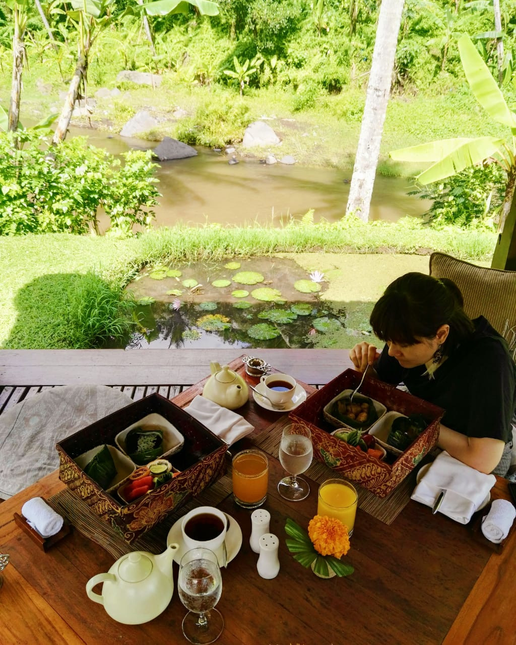 "Breakfast in a ""bale"" by the Ayung River in Sayan, Bali."
