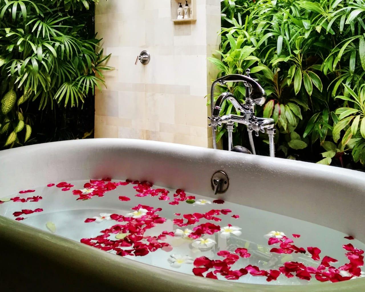 A flower bath at the Four Seasons Bali spa.